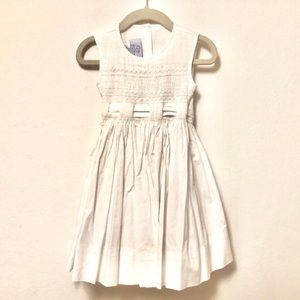 Baby CZ Sleeveless Smock Self Tied Bow Back Dress